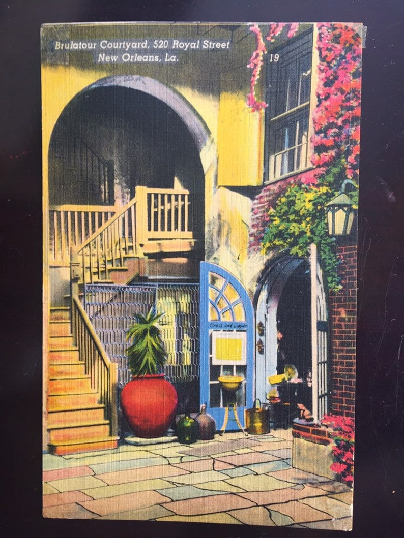 Lovely Used Postmarked 1950 Souvenir Postcard New Orleans Louisiana Brulatour Courtyard Colourpicture