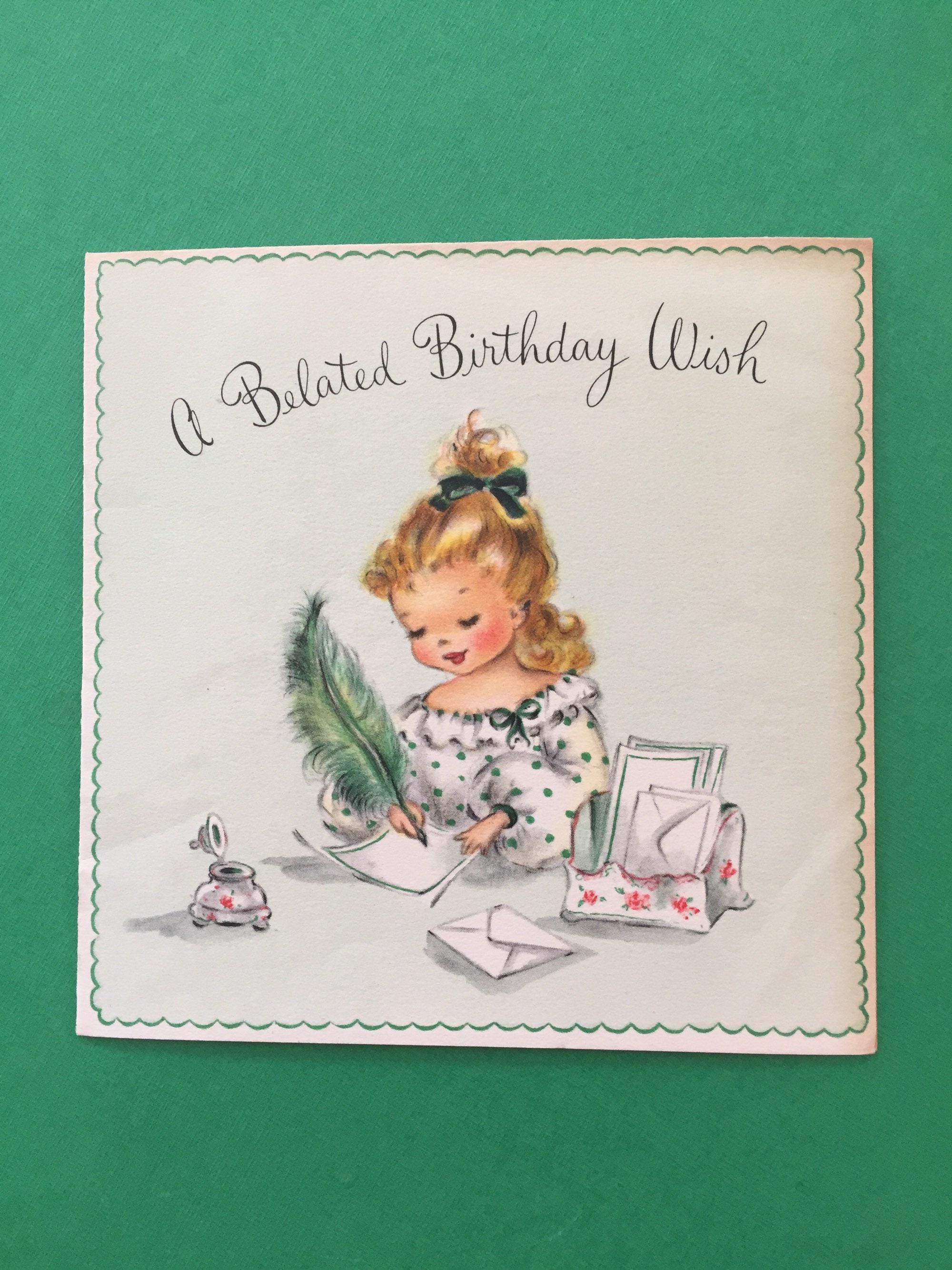 Used Vintage Belated Birthday Card Signed And Given In 1951
