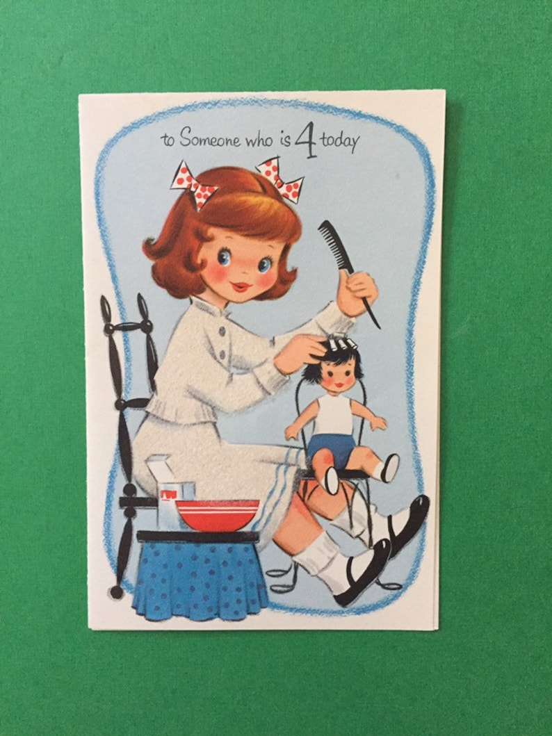Used Vintage Birthday Card For A 4 Year Old Girl Made By