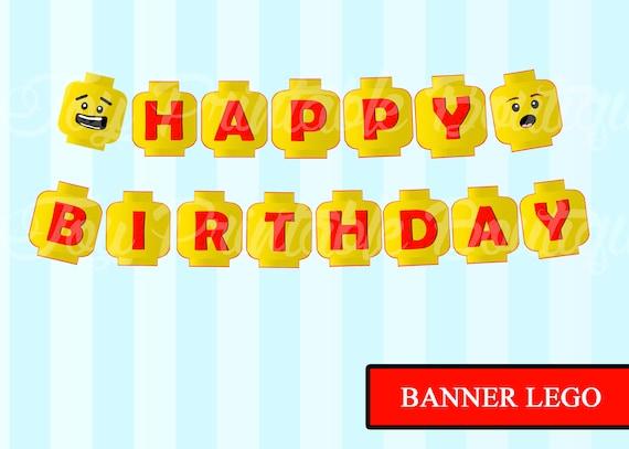 imprimer banderole joyeux anniversaire lego telechargement instantane