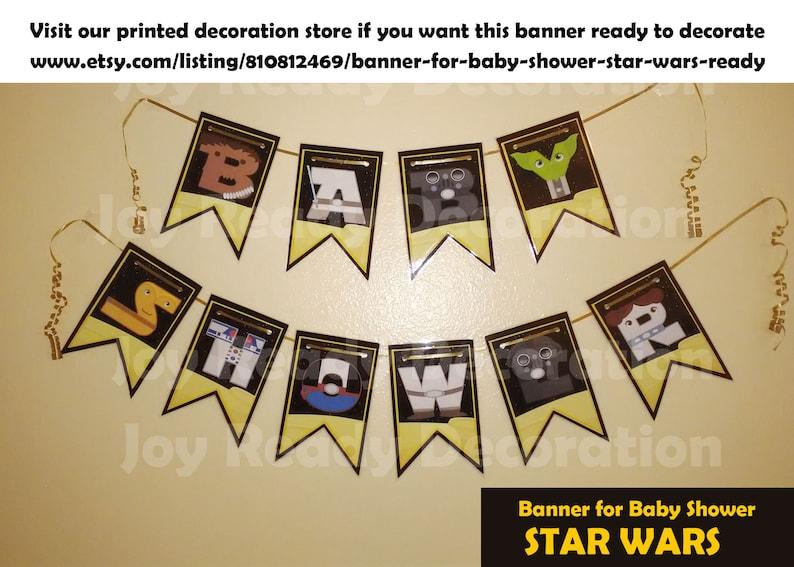 Printable Banner Star Wars for Baby Shower