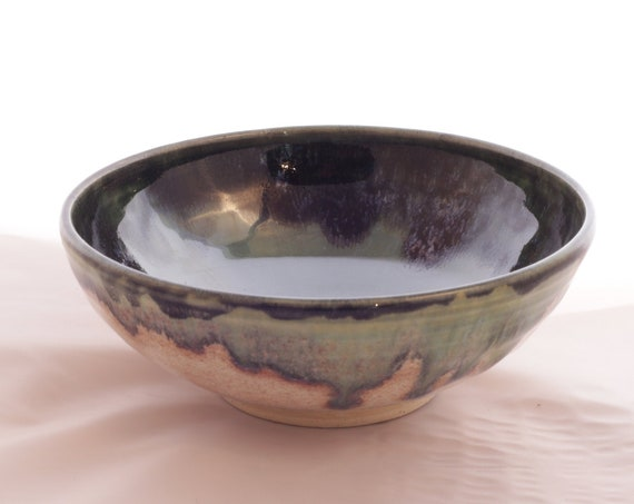 Soup or snack bowl, ceramic, dark green, speckled blue/black