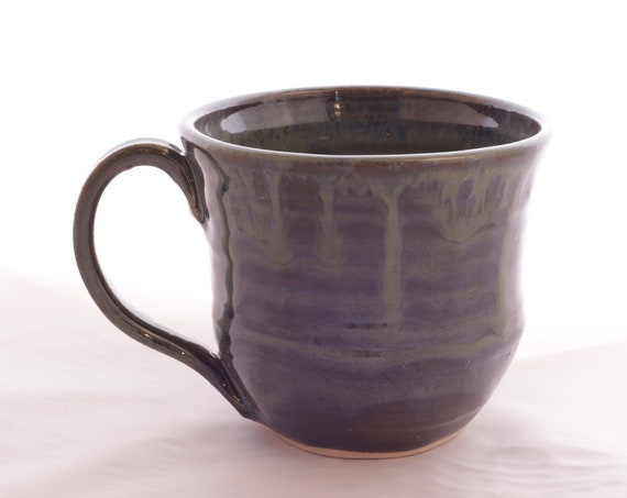 Dark green, black glazed mug