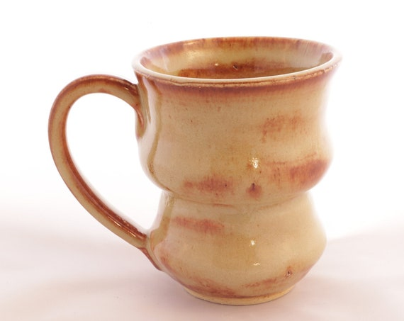 Funky ceramic coffee mug, wheel thrown, dinnerware safe, microwave safe