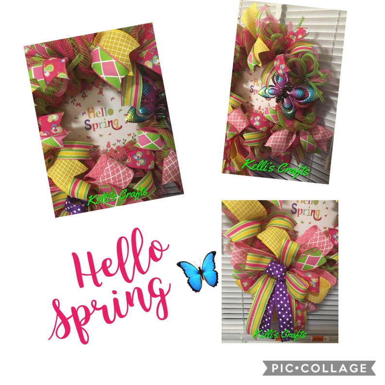 Spring Door Decor Butterfly Wreath Hello Spring Wreath Colorful Wreath Mother\u2019s Day gift Wreath for Spring Ready to ship