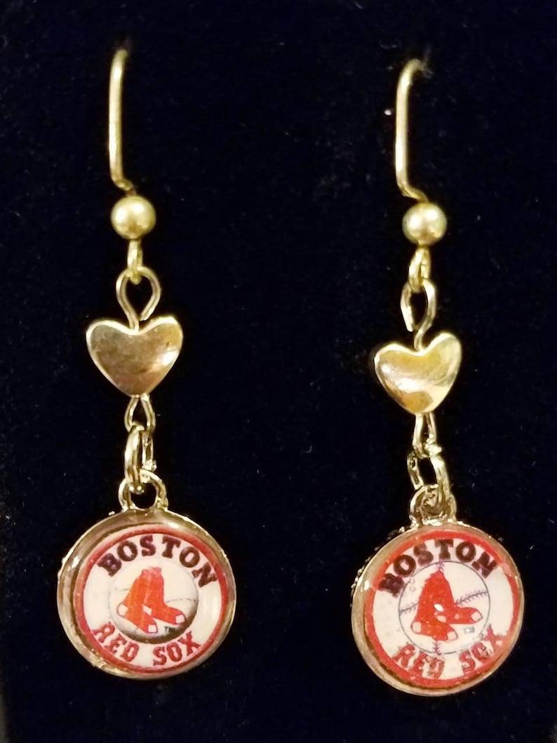 Boston Red Socks Earrings Silver  Diamonds