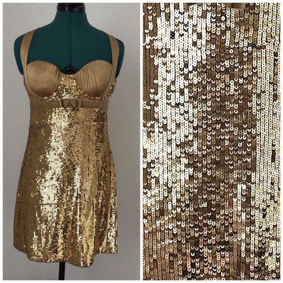 Vintage Marciano//Iridescent Sequin Dress// Gold//