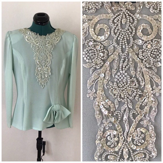 Dashing Vintage Sequin Beaded Blouse//Pearls//Mint