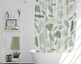 Leaves Pattern Shower Curtain Nature Boho