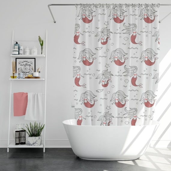 Mermaid Shower Curtain Kids Funny