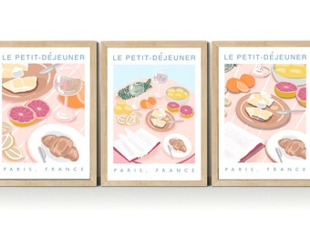 Set of 3 french breakfast kitchen art print, petit dejeuner print, continental breakfast, destination wall art A5, A4, A3
