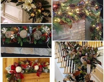 christmas garland holiday garland prelit optional accent add on mantle garland stairway garland banister garland front porch garland