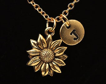 7dd99eb35d Antique Gold Sunflower Necklace, Gold Flower Necklace, Sunflower Charm, Gold  Daisy Flower, Personalized Monogram, Necklace Gift, G06