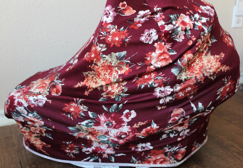 Nursing Cover Infant Car Seat Canopy READY TO SHIP Merlot Floral Car Seat Cover Floral High Chair Cover Shopping Cart Cover