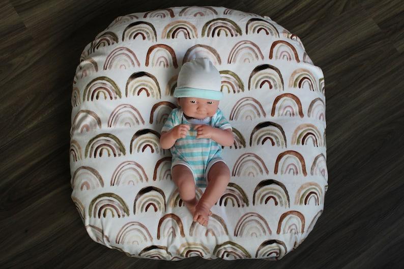 Minky Neutral Earth Tones Rainbow Newborn Lounger Pillow ...