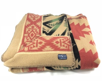 5ded71a1aa450 Vintage Ralph Lauren Southwest Indian Style Wool Blanket Italy PRL EUC Dry  Cleaned