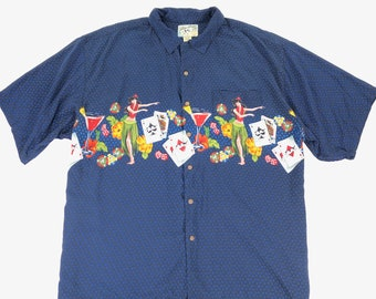 98f0dcc76 Vintage Big Dogs Mens 2XL Blue Rayon Hawaiian Hula Girl Casino Button Up  Shirt Vacation