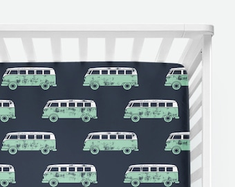 Green Retro Van Stamped on Navy Fitted Crib Sheet 3e7630995