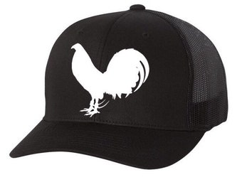 Gamefowl Black Trucker Hat with rooster options bc62ac7d84d