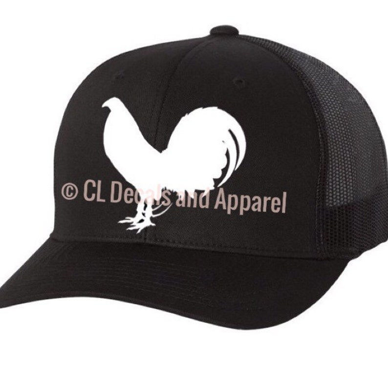 Gamefowl Black Trucker Hat with rooster options