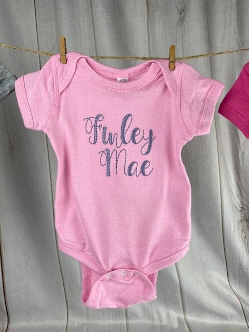Personalized Baby Onesie l Baby Girl Clothes l Photo Shoot Outfit l Embroidered  Name Onesie I Pink Onesie with Name