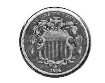 dark better date ##2241 1866 shield nickel US coin