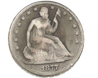 1877 SEATED LIBERTY Half Dollar, *** VG***