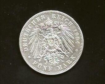 1904 A  Berlin Mint Silver Crown Size Five Marks  ***XFAU***