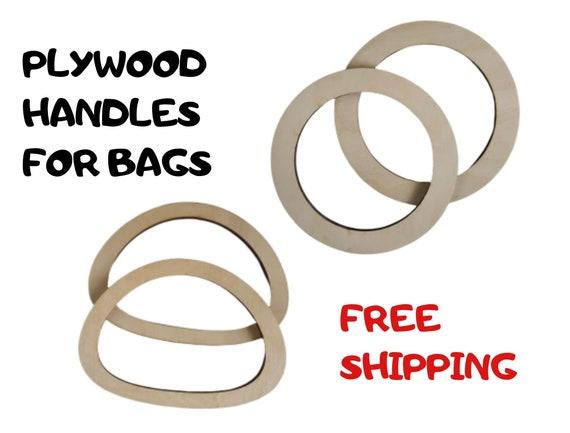 One pair Plywood tote bag handle plywood handles for bags round wooden handbag handle Oval wooden handbag handle