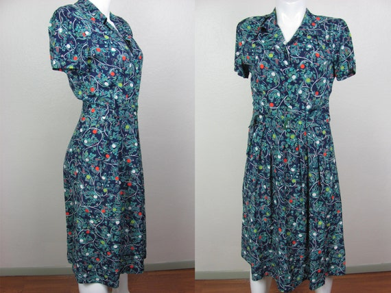 1940s Rayon Novelty Print Dress Excellent Conditio