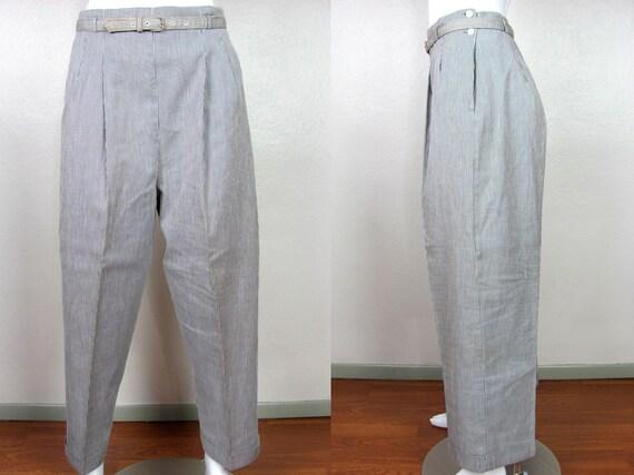 1940s Seersucker Pinstripe Women's Trousers Hollyw