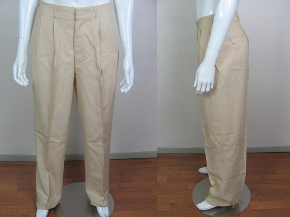 1940s NEW OLD STOCK Wheat Colored Rayon Trousers H