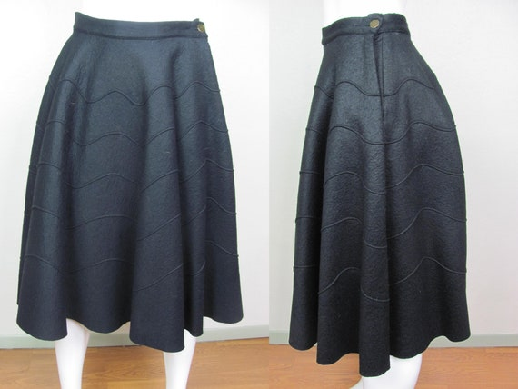 1950s Felt Black Circle Skirt Excellent Condition