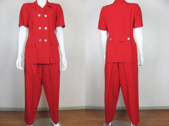 RESERVED LAYAWAY 1940s Women's Red Pant Suit
