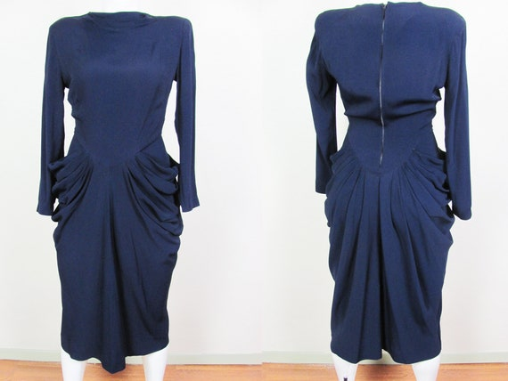 1940s Navy Crepe Dress Excellent Condition