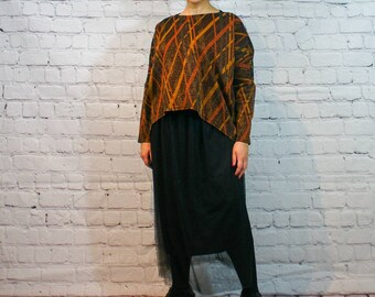 Vintage Gothic Romance Smooth Knit Jersey Vokuhila Volant Maxiskirt High Low Rock Boots Skirt Gr.38 40