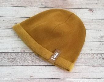 "Winter hat baby, child winter sweat fabric, ""mustard yellow"" hat with name, personalization, baby hat, beanie, children's hat"