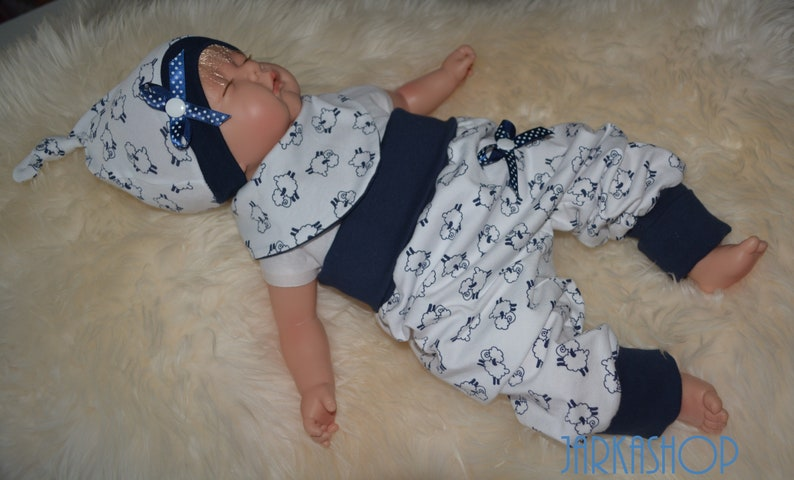 Size 6268; 3 tlg Baby set shepherds white-blue