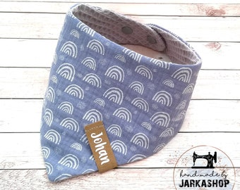 """Baby reversible neckerchief from waffle lpique/musselin """"rainbow light blue-silver-grey"""", personalized, neck scarf, baby scarf, neck scarf with name"""