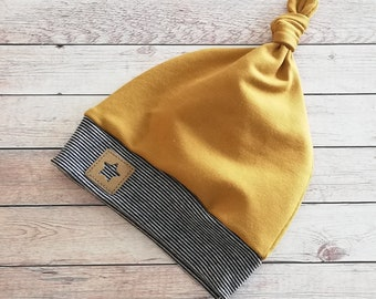 Knot hat with cuffs, beanie with name, mustard blue, beanie, baby hat, children's hat, cotton jersey hat or sweat fabric