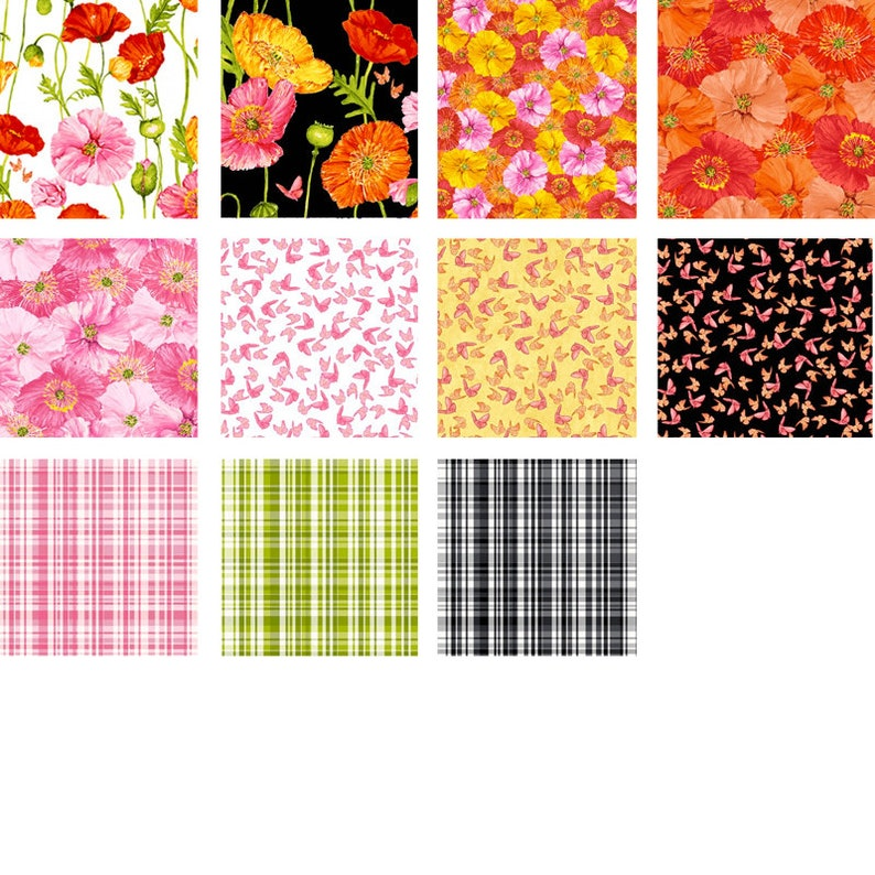 Gorgeous poppies for the gardener or flower lover kitchen textiles Perfect for a quilt Poppy Garden FQB spring table runner.