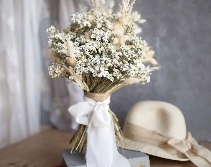 Dried flower Bridal bouquet,Flower comb,Rustic Wedding flower ,Dried boutonniere,Dried Flower Boho wedding, Bridesmaids ,Wedding bracelet