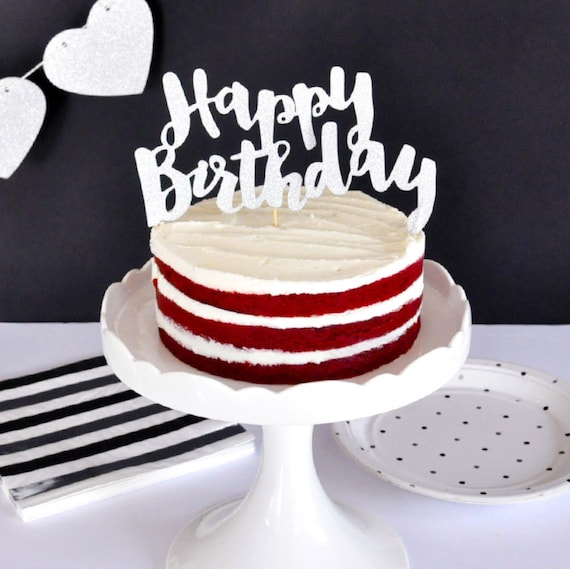 Fantastic Chic Silver Sparkling And Glittering Happy Birthday Cake Etsy Funny Birthday Cards Online Aboleapandamsfinfo
