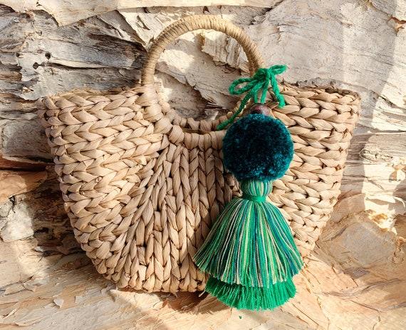 Bridal Party Beach Bag Tassel Pompom for Purse Straw Bag Tassel Charm Pink Ombre Tassel for Purse Boho Tassels