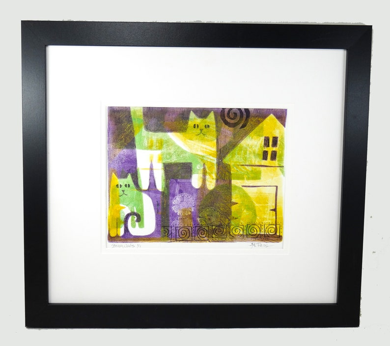 Stray Cats Double Matted Original Monoprint