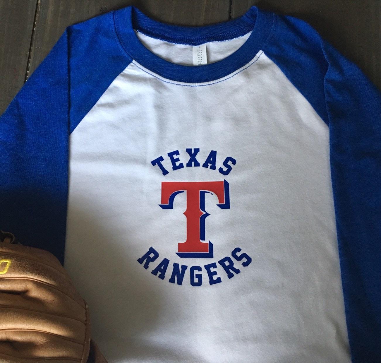 super popular 1be21 24e77 Retro Style Texas Rangers Baseball Raglan Boys Girl Shirt