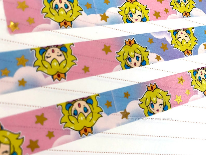 Princess Peach Inspired Gold Foil Star Washi Tape