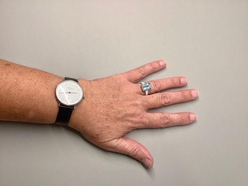 Aquamarine Ring Rectangular Silver