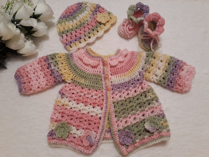 23ad50d2918a Colourful Baby sweater set crochet Baby cardigan Baby