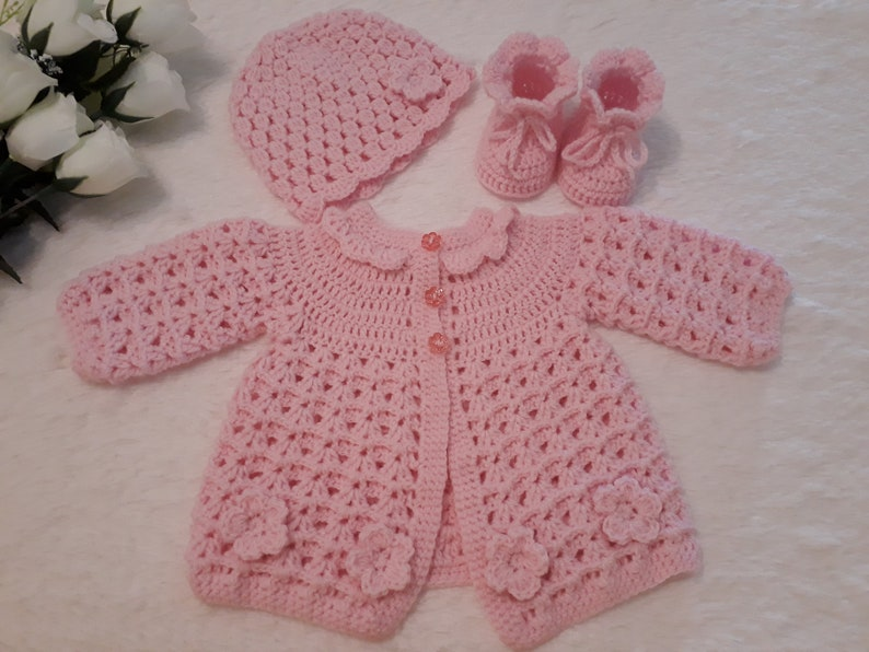 a1cc918c02d5 Sweet Baby sweater set crochet in pink color Baby cardigan